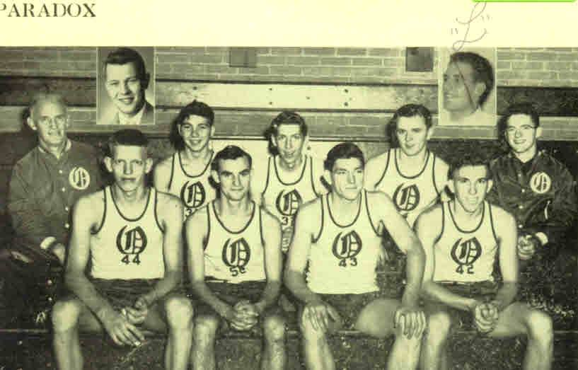 "1951 OHS Basketball Tom Galloway Tom Galloway Tom Drumm, next to Bob ""Lefty"" LaTulip, then Jimmy, ""Twitchy"" Cavallier. Back Row: Framed.. Joe Shambo & Dave Place? Seated.. L to R: Dick Chetney, John Saternow? Tom Tovey and C. Furman?"